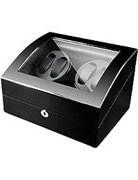 Watch Winder 4+6, Caja giratoria para 10 Relojes automáticos 4 Movimiento+ 6 Descanso, Cargador para Relojes automáticos, en Madera con Acabado Piano (Negro)