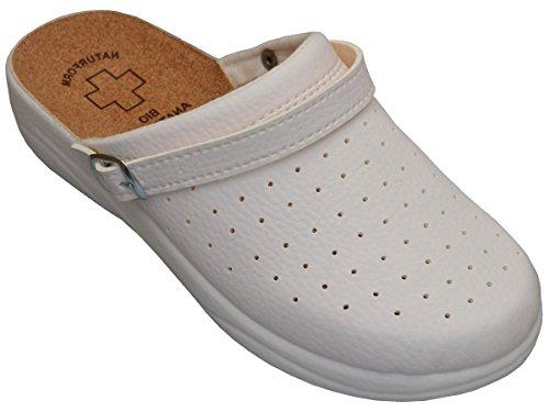 Bawal Damen Pantolette Sandalen Komfort Kork Hausschuhe Arbeit Modell 3512 (37, 4016-Weiß)