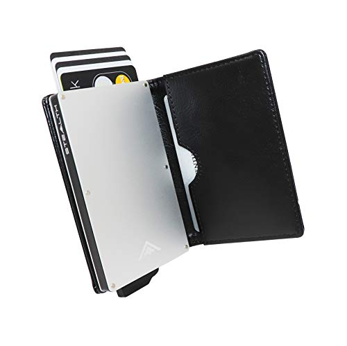 STEALTH Wallet - Porta carte di credito pop-up con blocco RFID minimalista in alluminio con confezione regalo Portafoglio per espulsore leggero e sottile con protezione (Argento con pelle nera)