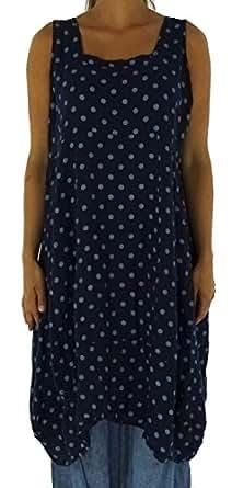 Mein Design Lagenlook de Mallorca Damen Kleid HE700BL46 Plus Size Longtunika Ballonkleid Used Look Punkte Leinen ohne Arm Eingrifftaschen Gr. 46/48 blau