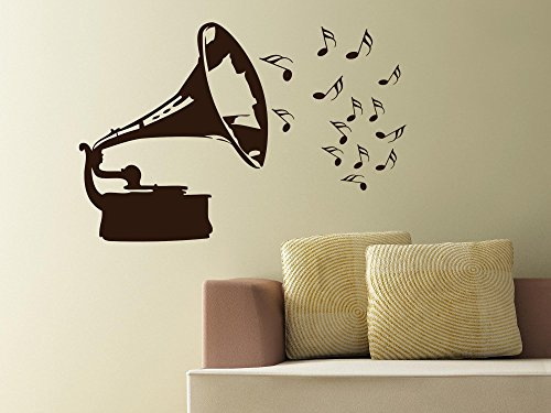 Tattoo sticker wall decoration sticker for grammophone notes metal 030 dark red