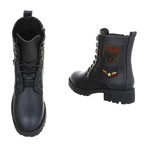 Chaussures femme Bottes et bottines Bloc Bottines a lacet Ital-Design noir H-3