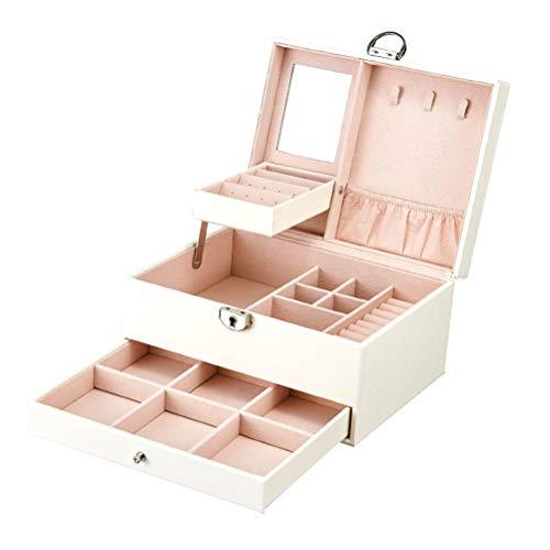 Pu schmuckschatulle große kapazität schmuck aufbewahrungsbox mit Spiegel und schublade für Ohrringe, halsketten, Ringe, armbänder, Uhren, etc. abschließbar,White - Tasche Wildleder Leder Nagel