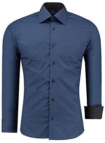 J'S FASHION Herren-Hemd – Slim Fit – Bügelleicht – Langarm-Hemd für Business Freizeit Hochzeit – Navyblau - L