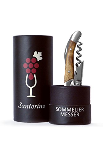 Santorino® Kellnermesser - Exklusives Sommeliermesser aus Campecheholz, 2 Stufen Weinöffner Korkenzieher Flaschenöffner