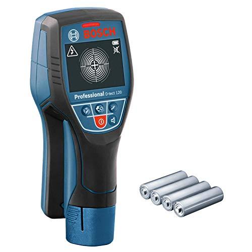 Bosch Professional Ortungsgerät D-tect 120 (max. Ortungstiefe für Kunststoffrohre/Holzunterkonstruktion/spannungsführende Leitungen/Eisenmetalle/ Nichteisenmetalle: 60/38/60/120/120 mm, im Karton)
