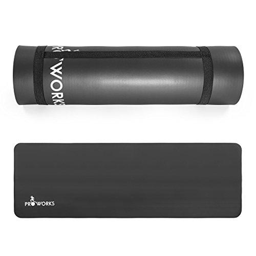 Proworks Große Premium Yogamatte Gepolstert & Rutschfest für Fitness Pilates & Gymnastik mit Tragegurt in Schwarz - [Maße 183cm Länge 60cm Breite] - Phtalatfrei
