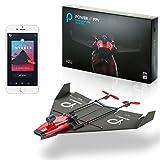 PowerUp FPV  Aeroplano di carta a doppio motore controllato da smartphone con fotocamera grandangolare, Nero/Rosso