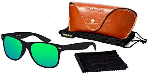 Balinco Hochwertige Polarisierte Nerd Rubber Sonnenbrille im Set (24 Modelle) Retro Vintage Unisex Brille mit Federscharnier (Black-Green Mirror)