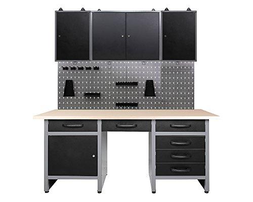 Ondis24 Werkstatteinrichtung 170 cm breit, Werkbank, Werkzeugschrank, Werkzeugwand