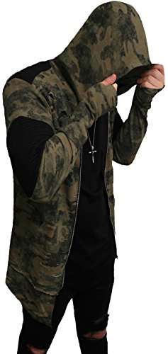 Camouflage Oversize Designer Sweat Jacke Cardigan Hoody Pullover Shirt Herren Hoodie Longsleeve m Kapuzenpullover Long Sweatjacke Sweatshirt Pulli Longshirt (S, Dark Camouflage⁴ - mit Reißverschluß)