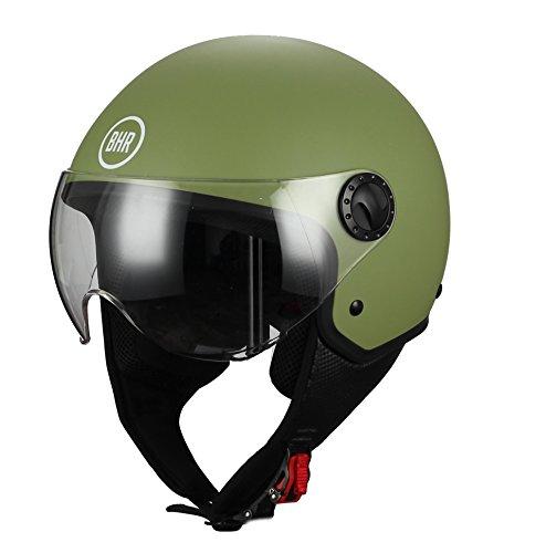 BHR 05254 Casco Moto Demi-Jet Modelo 801 con Linea One, Verde Opaco , L