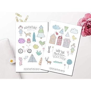 Adventure Sticker Set | Aufkleber Tiere | Journal Sticker | Sticker Blumen | Sticker Vögel | Sticker Mädchen