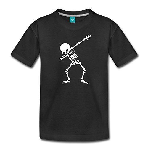 Spreadshirt Dab Skelett Dabbing Gerippe Halloween Teenager Premium T-Shirt, 158/164 (12 Jahre), Schwarz