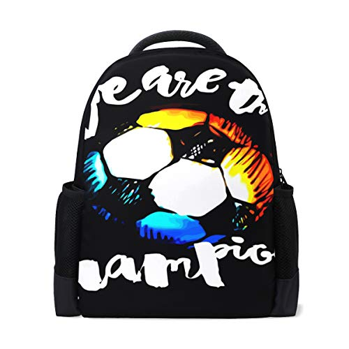 ISAOA Kinder Rucksack Schultasche für Mädchen Jungen Fußball Grunge Graffiti Hand Lettering Style Motivation Poster Casual Rucksack Daypack Laptop Rucksäcke