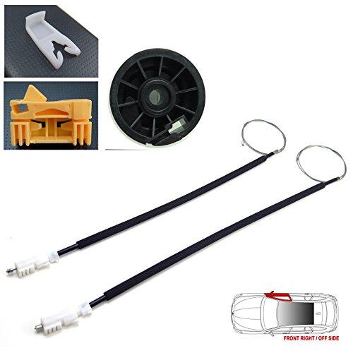 clips c/ôt/é passager du Royaume-Uni avec c/âbles de r/égulation de vitre rouleau et poulie Kit de r/éparation de r/égulateur de vitre /électrique avant gauche c/ôt/é gauche