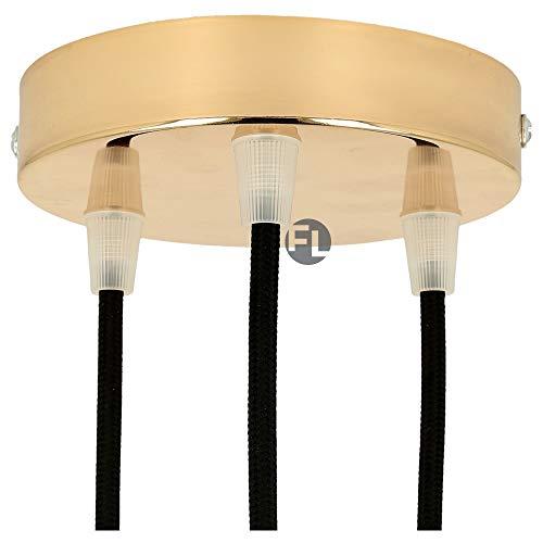 Flairlux Baldachin 3-fach messing zur Montage von Pendelleuchten   Lampenbaldachin für alle Lampen geeignet   zur Lampenaufhängung an der Decke   Deckenrosette 120x25 mm inkl Klemmnippel
