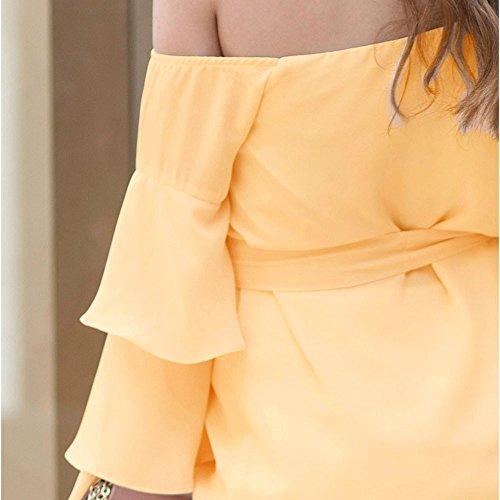 Felpa Donna Senza Spalline Topgrowth Chiffon Eleganti Manica Lunga Blusa A Pieghe Maglietta Ruffle Puro Colore Cerimonia con le Cinture Giallo