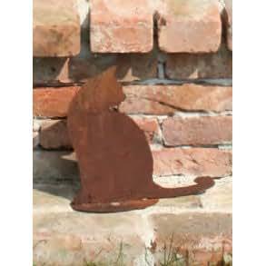 Décoration de jardin chat assis en métal rouille 30 cm