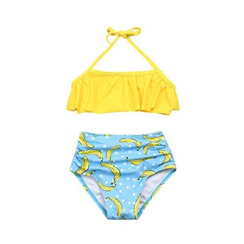 ? Amlaiworld Sommer Retro Blätter Druck Bikini Set Mädchen Baby Strand rüschen BH bademode Mode Kinder Band Schwimmen badeanzüge,1-8 Jahren (6 Jahren, Gelb)