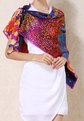 Helan femmes Réel Soie Naturelle 110 X 110 cm foulards carrés Floral Ocean Blue