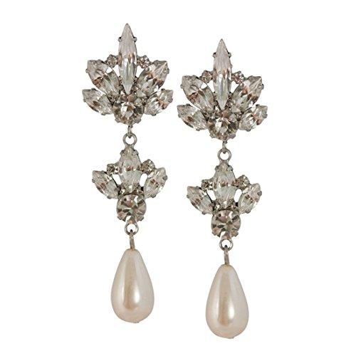 Orecchini a pendente con perla in cristallo (2 ripiani)