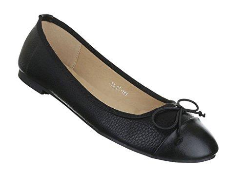 Damen Ballerinas Schuhe Loafers Slipper Slip-on Flats Schleifen Pumps Schwarz 36 37 38 39 40 41 Schwarz