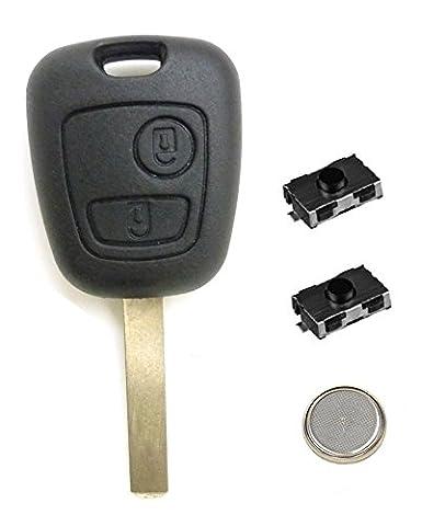 Coque Plip Clé Télécommande Peugeot 107 207 307 407 307 SW 308 +2 Switchs Bouton +Pile ®LAKAMODO