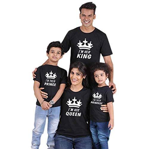 Traje de Manga Corta con Estampado Familiar de King Queen Prince Princess Ropa Estampada Entre Padres e Hijos Daddy Mommy Camisetas de Juego para Niños Conjuntos de Ropa Familiar
