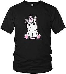 Süßes knuffiges Kinder Einhorn Kostüm Fun Unicorn - Herren T-Shirt und Männer Tshirt, Größe:5XL, Farbe:Black (Schwarz) - Pink
