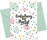 """15er Set (inkl. Umschläge): Einladungskarten """"Konfetti"""" für den Kindergeburtstag oder anderen Anlass – hochwertige Geburtstagseinladungen für Kinder, Mädchen, Teenager"""