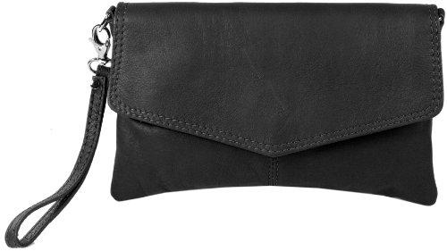 Damen Leder-clutch, Handtaschen (Emmy accessoires Sarandon Clutch/Abendtasche Echt-Leder -Made in Italy- Schwarz)