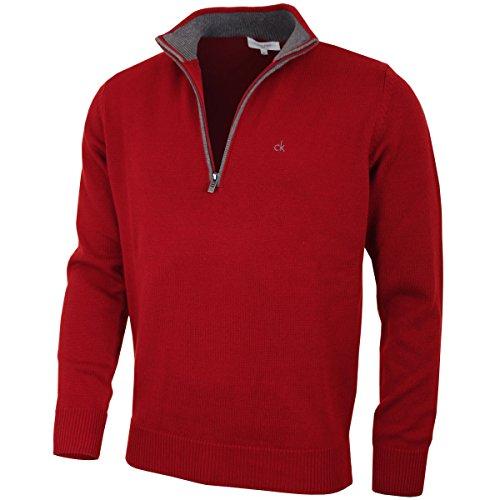 Calvin Klein Golf Herren Baumwollpullover - Burgundy - XL Golf Herren Pullover