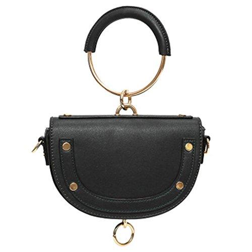 Do-Fashion Kreis-Ring-Griff-Handtaschen-Frauen-PU-Leder-Mini Sattel Crossbody-Tasche Black -
