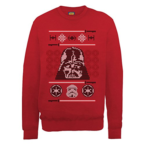Star Wars - Christmas Dart Vader Head Knit, Felpa da uomo,  manica lunga, rosso(red), M