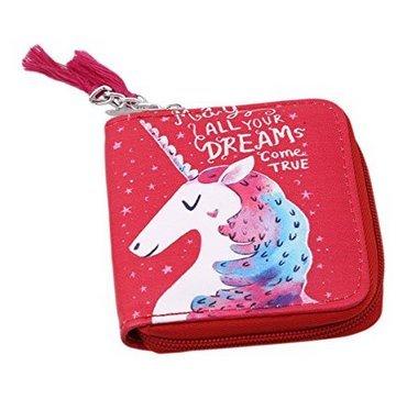Cartera con diseño de unicornio de Fligatto, con monedero y tarjetero, roja