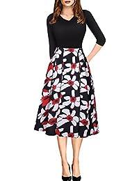 HOUSWEETY Rockabilly Kleid Festliches Kleid Petticoat Kleid Strandkleid Tops Party-Minikleid 3/4-Arm