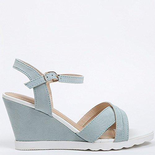 Ideal-Shoes Sandali compensate Tessie, effetto pelle scamosciata Blu (Blu cielo)