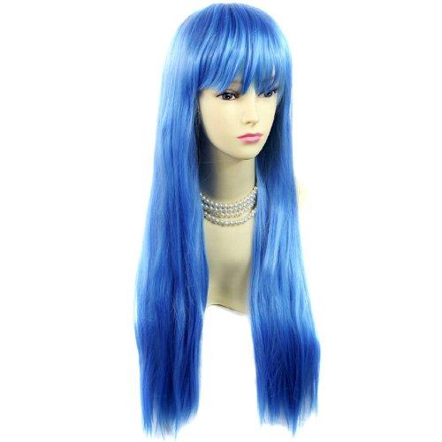 Fabuleuse Perruque Bleu Longue et Raide Résistante à la chaleur Costume