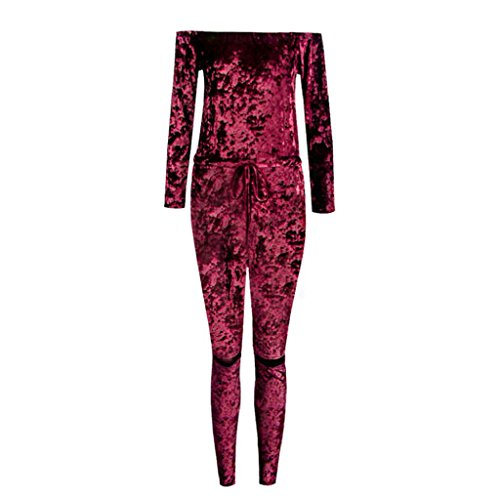 Vovotrade Femmes Sexy Off épaule Shiny Velvet Jumpsuit Ladies Evening Party Rompers Vin rouge
