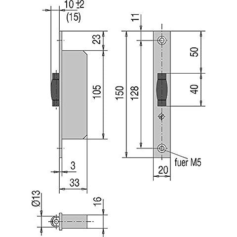 WSS Roll cas Serrure pour porte battante–Sectionnelles Porte–33mm de profondeur–Manchette