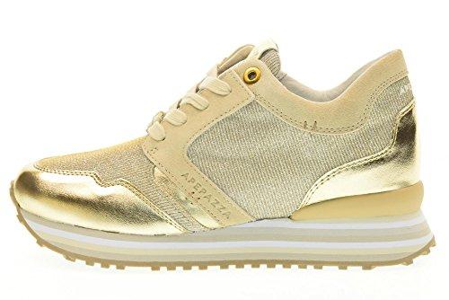 APEPAZZA scarpe donna sneakers basse RSD03/METALFABRIC ORO Oro