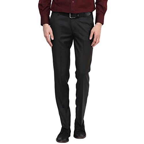 Routeen Premium dominos Black Slim Fit Formal Pants for Men  available at amazon for Rs.493