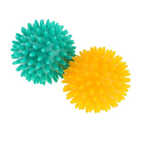 MagiDeal 2 Stücke Massageball Selbstmassage Massagegebälle - Durchmesser 7cm - Igelball Massageball Reflexzonen Massagekugel - Gelb Grün