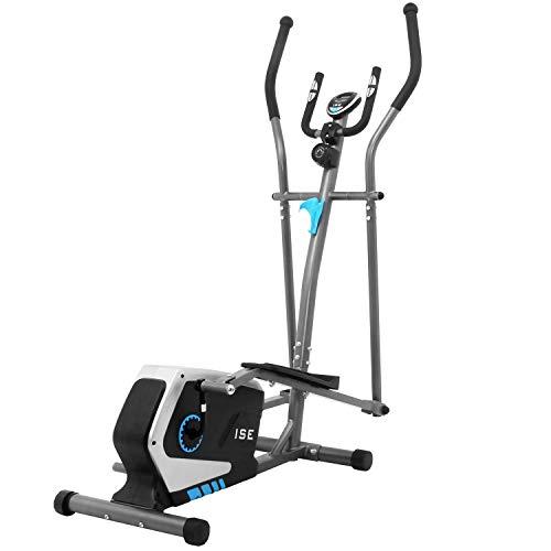 ISE Vélo d'appartement Vélo elliptique Magnétique Cross Trainer,LCD Display, Ergomètre Compatible, 8 Niveaux de Résistance, Poids d'inertie de 8 KG, SY-9801