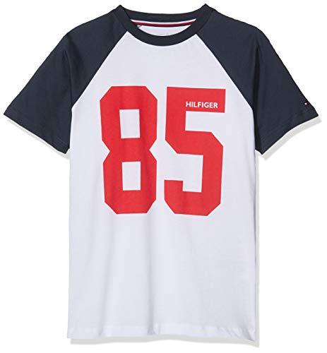 Tommy Hilfiger Jungen SS Tee Logo T-Shirt, Weiß (White 100), 176 (Herstellergröße: 14-16) (Hilfiger Jungen-shorts Tommy)