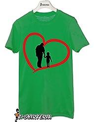 t-shirt día del padre tamaño pequeño, diseño de muñeco y hijo, todas las tallas, love by tshirteria Camiseta para mujer verde Talla:XL (9-11 años)