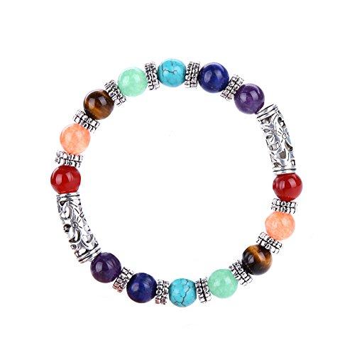 Stillshine - Chakra Yoga Balancing Runde Stein Perlen Elastische Natürliche Perle Kette, Charm Herren Frauen Geschenkbox (Stil 10)