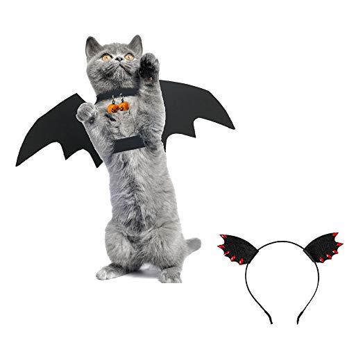 3 Kätzchen Kleine Kostüm - Palmula 3-teiliges Katzenkostüm Fledermausflügel Haustierkostüme mit 2 Kürbisglocken für Katzen oder Kleine Hunde, interaktives Halloween-Kostüm