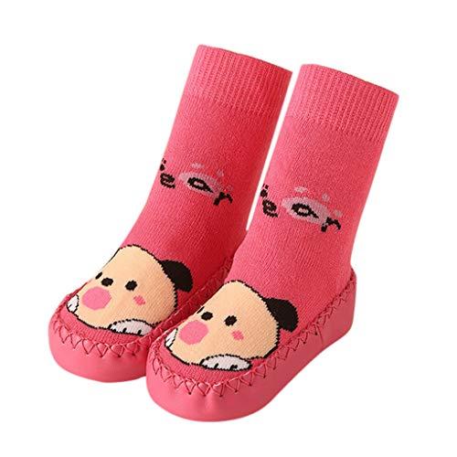 Mymyguoe Unisex-Kinder Babysocken Schuhe Slip-On Anti Slip Fußboden-Socken Kleinkind Hüttenschuhe aus weichem Baumwolle Bottom Hausschuhe mit Cartoon Muster Infant Newborn Socken Stiefeln (Anna Frozen Shirt Kleinkind)